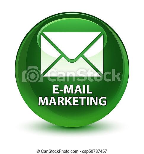E-mail marketing glassy soft green round button - csp50737457