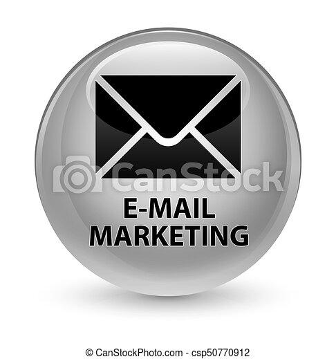 E-mail marketing glassy white round button - csp50770912