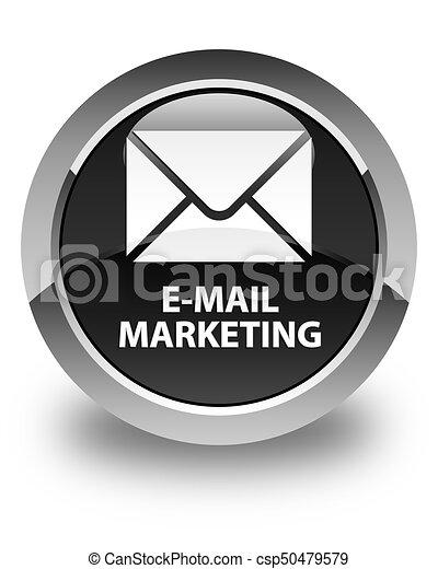 E-mail marketing glossy black round button - csp50479579
