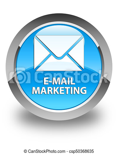 E-mail marketing glossy cyan blue round button - csp50368635