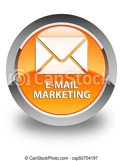 E-mail marketing glossy orange round button - csp50704197