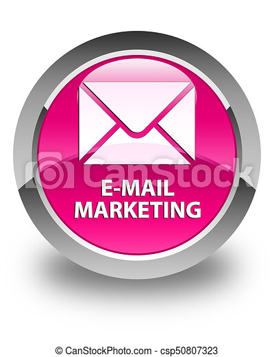 E-mail marketing glossy pink round button - csp50807323