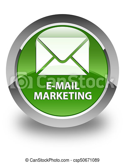 E-mail marketing glossy soft green round button - csp50671089