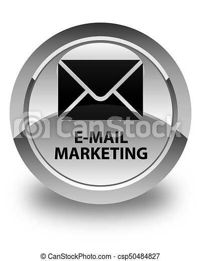 E-mail marketing glossy white round button - csp50484827