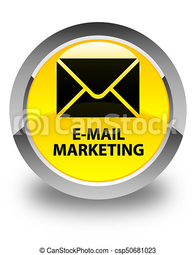 E-mail marketing glossy yellow round button - csp50681023