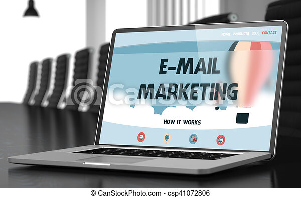 E-mail Marketing on Laptop in Conference Hall. 3D. - csp41072806
