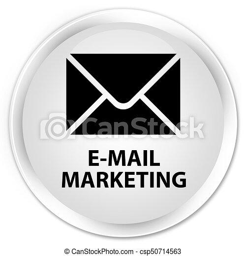 E-mail marketing premium white round button - csp50714563
