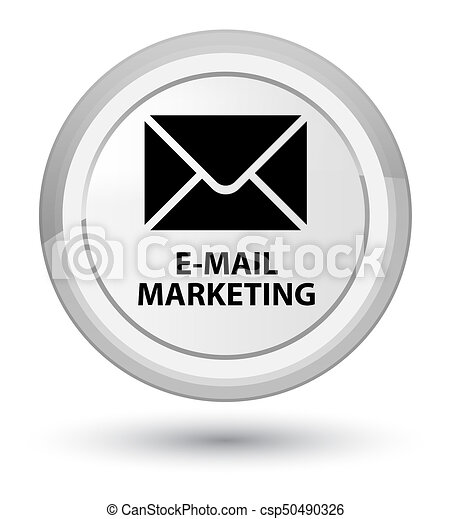 E-mail marketing prime white round button - csp50490326