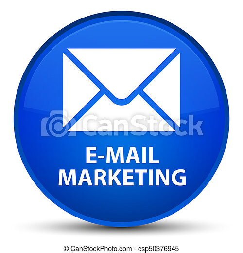 E-mail marketing special blue round button - csp50376945
