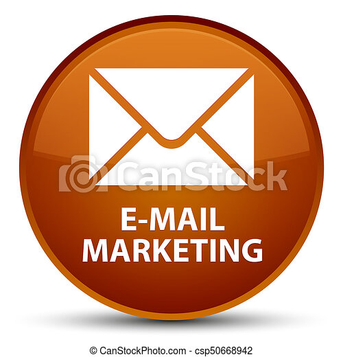 E-mail marketing special brown round button - csp50668942