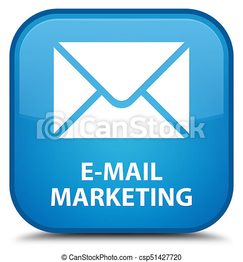 E-mail marketing special cyan blue square button - csp51427720