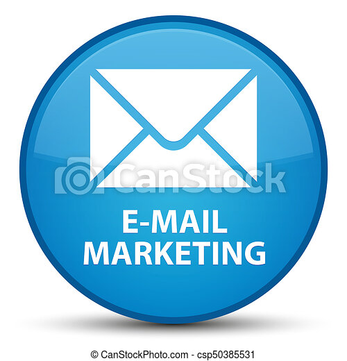 E-mail marketing special cyan blue round button - csp50385531