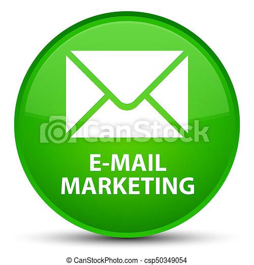 E-mail marketing special green round button - csp50349054