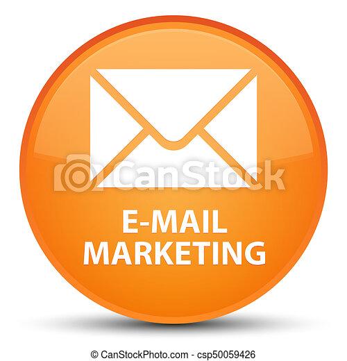 E-mail marketing special orange round button - csp50059426
