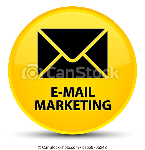 E-mail marketing special yellow round button - csp50785242