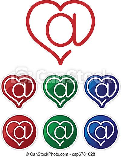 El símbolo del correo y del corazón. Botones brillantes. - csp6781028