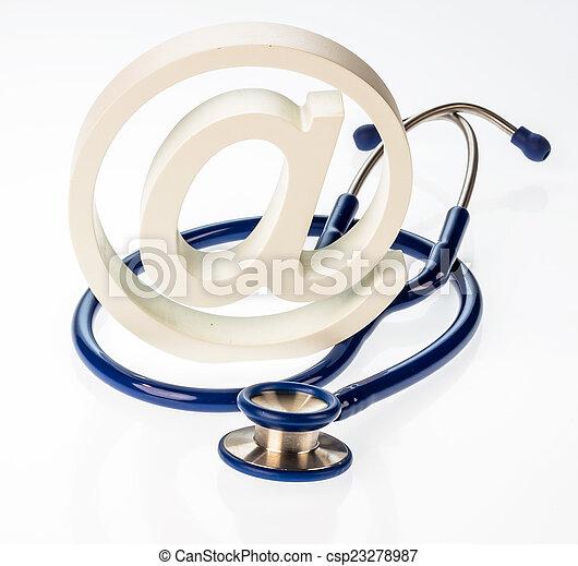e-mail symbol and stethoscope - csp23278987