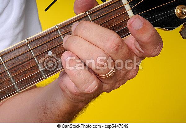 E minor (em) guitar chord. Finger position for a e minor... stock ...