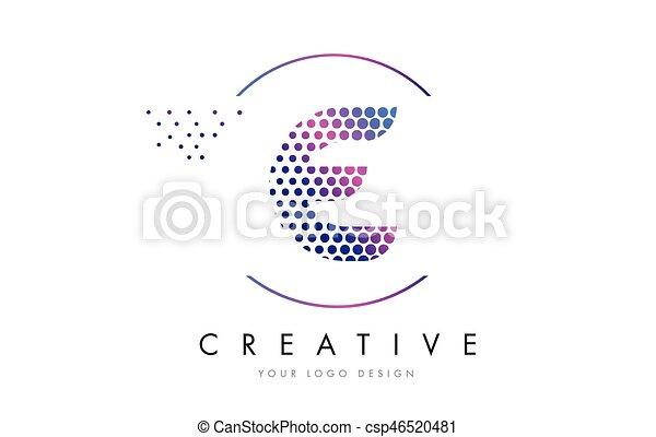 E Pink Magenta Dotted Bubble Letter Logo Design Vector
