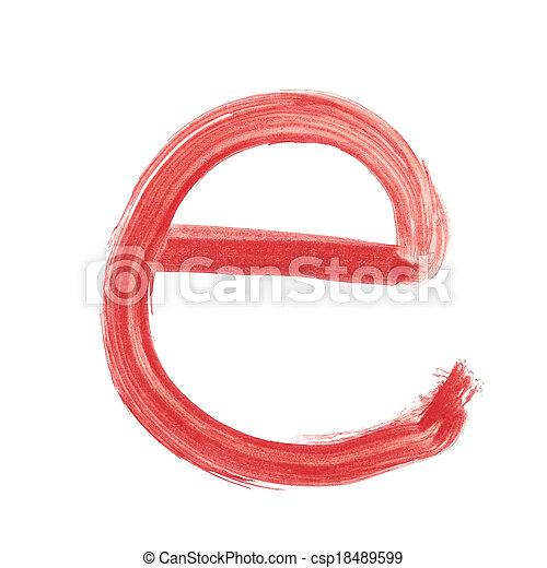 e - Red handwritten letter lower case - csp18489599