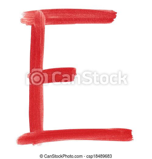 E - Red handwritten letter - csp18489683