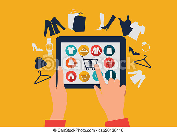 E-shopping concept. Hands touching a tablet with shopping icons. - csp20138416