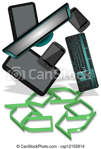 E Waste Recycling Recycling Symbol And Electronic Equipment