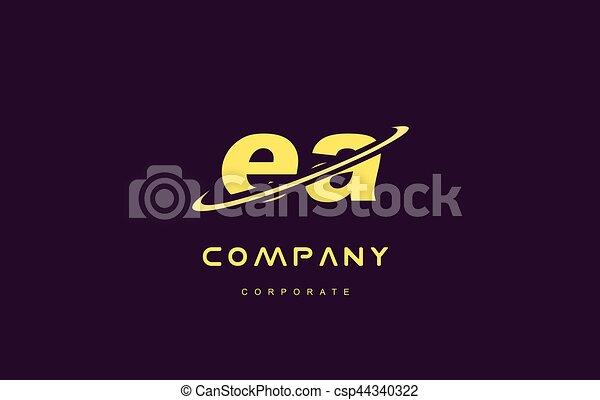 ea small alphabet yellow letter logo vector icon design