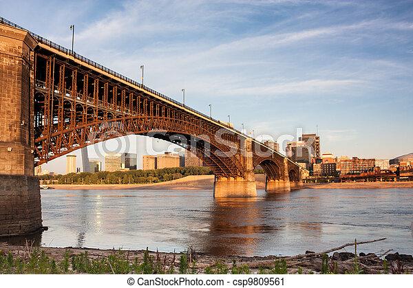 Eads bridge rail road crossing mississippi river at St Louis - csp9809561