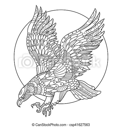 Eagle Bird Coloring Book For Adults Vector Illustration. Anti-stress  Coloring For Adult. Tattoo Stencil. Zentangle Style. CanStock