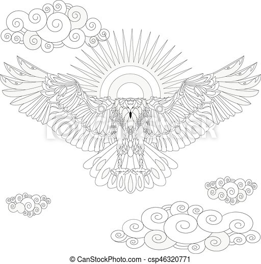 Eagle Bird Coloring Book For Adults Vector Illustration. Anti-stress  Coloring For Adult. CanStock