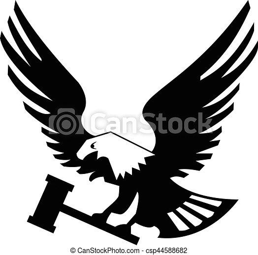 Eagle Bird With Hammer Isolated On White Backgroundicon Heraldic