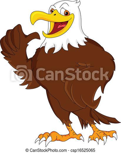 Eagle cartoon thumb up illustration.