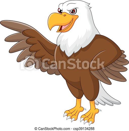 Eagle cartoon waving - csp39134288
