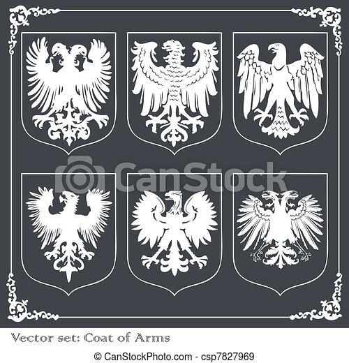 Eagle coat of arms heraldic - csp7827969
