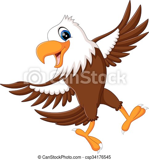 cartoon bald eagle standing with wings extended eps vector search rh canstockphoto com american bald eagle vector bald eagle vector art free