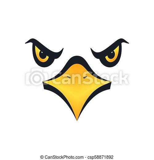 Eagle face, vector illustration. Sharp eyed eagle face on ...