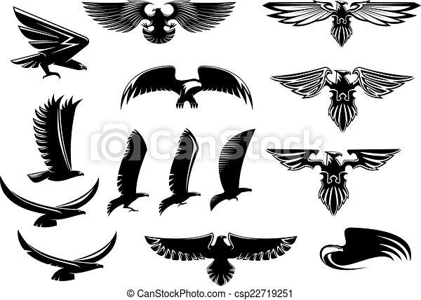 Eagle, falcon and hawk birds set - csp22719251