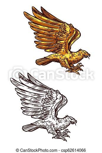 eagle gold heraldic falcon or hawk bird eagle falcon