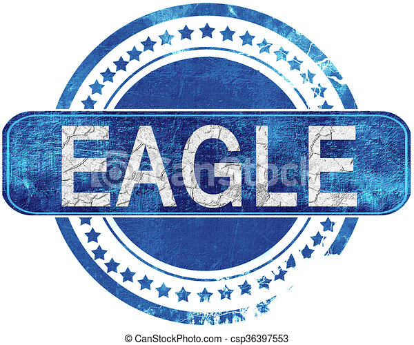 Eagle Grunge Blue Stamp Isolated On White