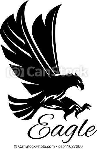 Eagle Hawk Vector Black Heraldic Icon Eagle Bird Black Icon Vector