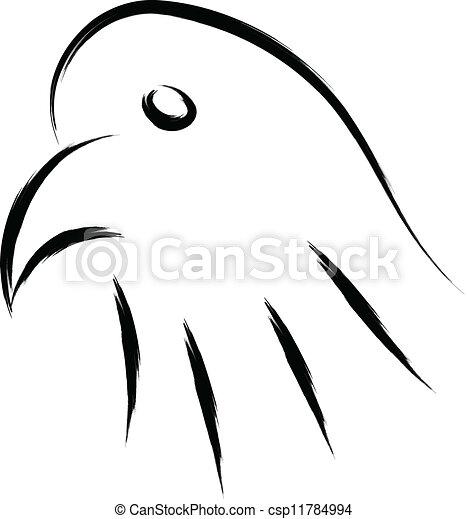 Eagle head simple sketch vector.