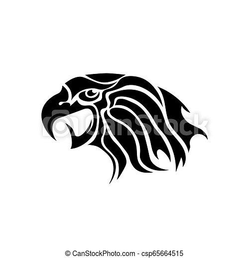 Eagle Head Tattoo Design. Logo Prey Bird - csp65664515