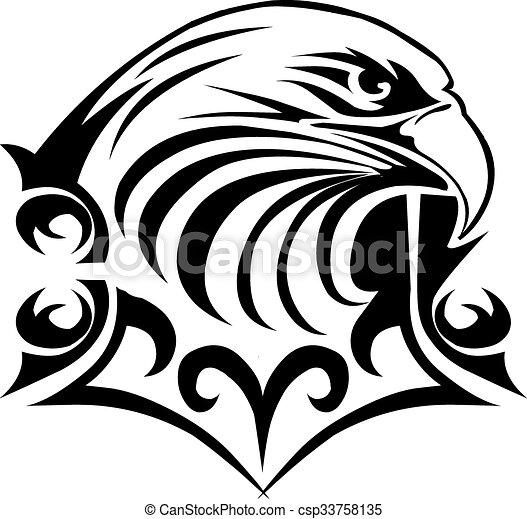 Eagle head tattoo design, vintage engraving. - csp33758135