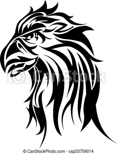Eagle head tattoo design, vintage engraving. - csp33759014