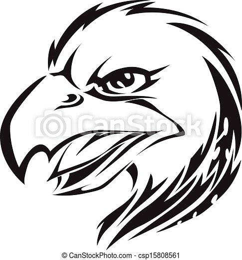 Eagle head tattoo, vintage engraving. - csp15808561