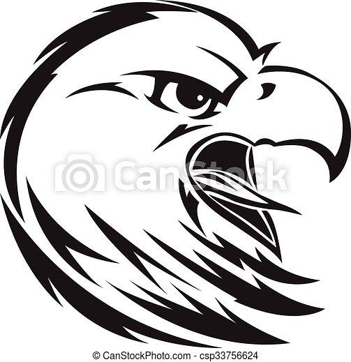 Eagle head tattoo, vintage engraving. - csp33756624