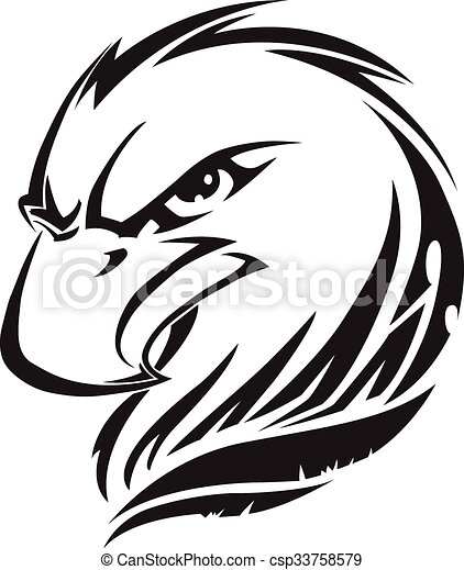 Eagle head tattoo, vintage engraving. - csp33758579