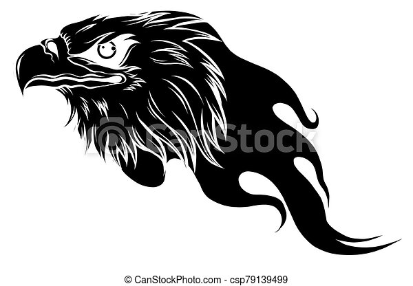 Eagle Head with Flames vector illustration design - csp79139499