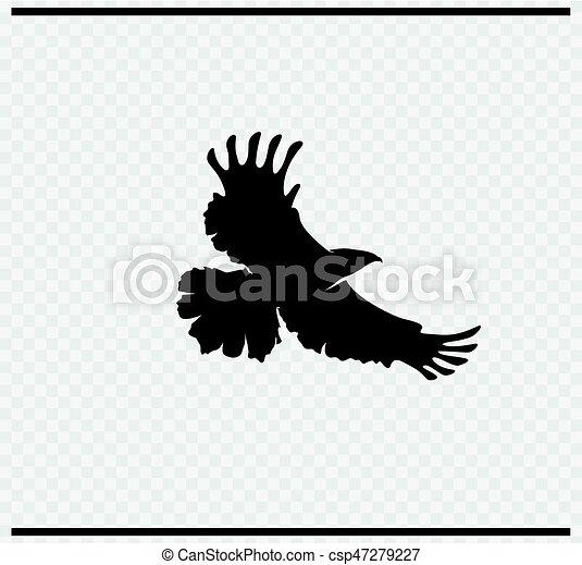 eagle icon black color on transparent - csp47279227